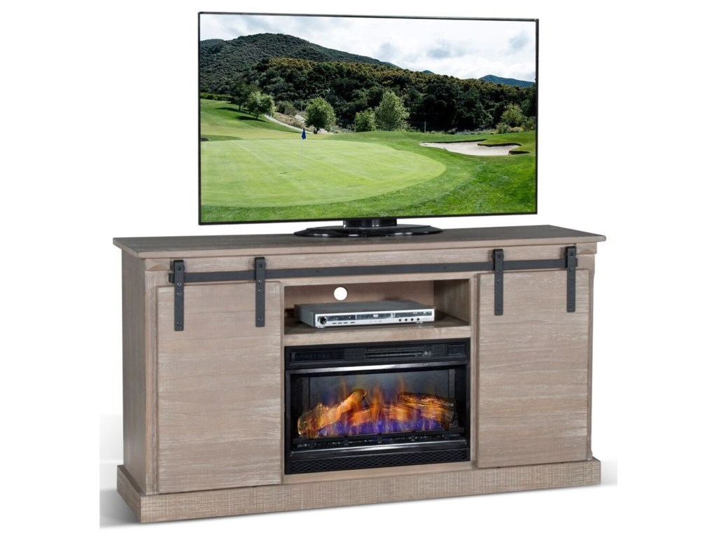 Sunny Designs PinehurstBarn Door TV Console Fire Place