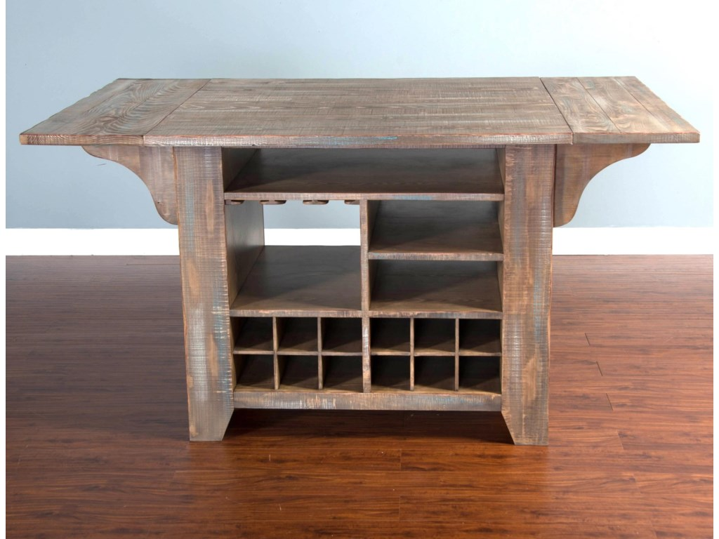 Sunny Designs PueblaKitchen Island with Drop Leaves