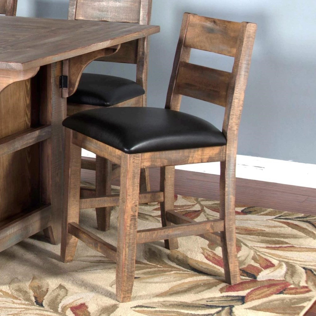 Sunny Designs Puebla Rustic 24 Ladderback Barstool With Upholstered