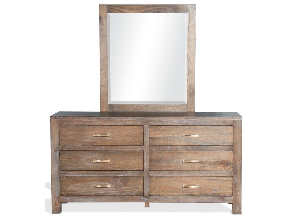 Sunny Designs Reno Rustic Dresser and Mirror Combination with 6 ...