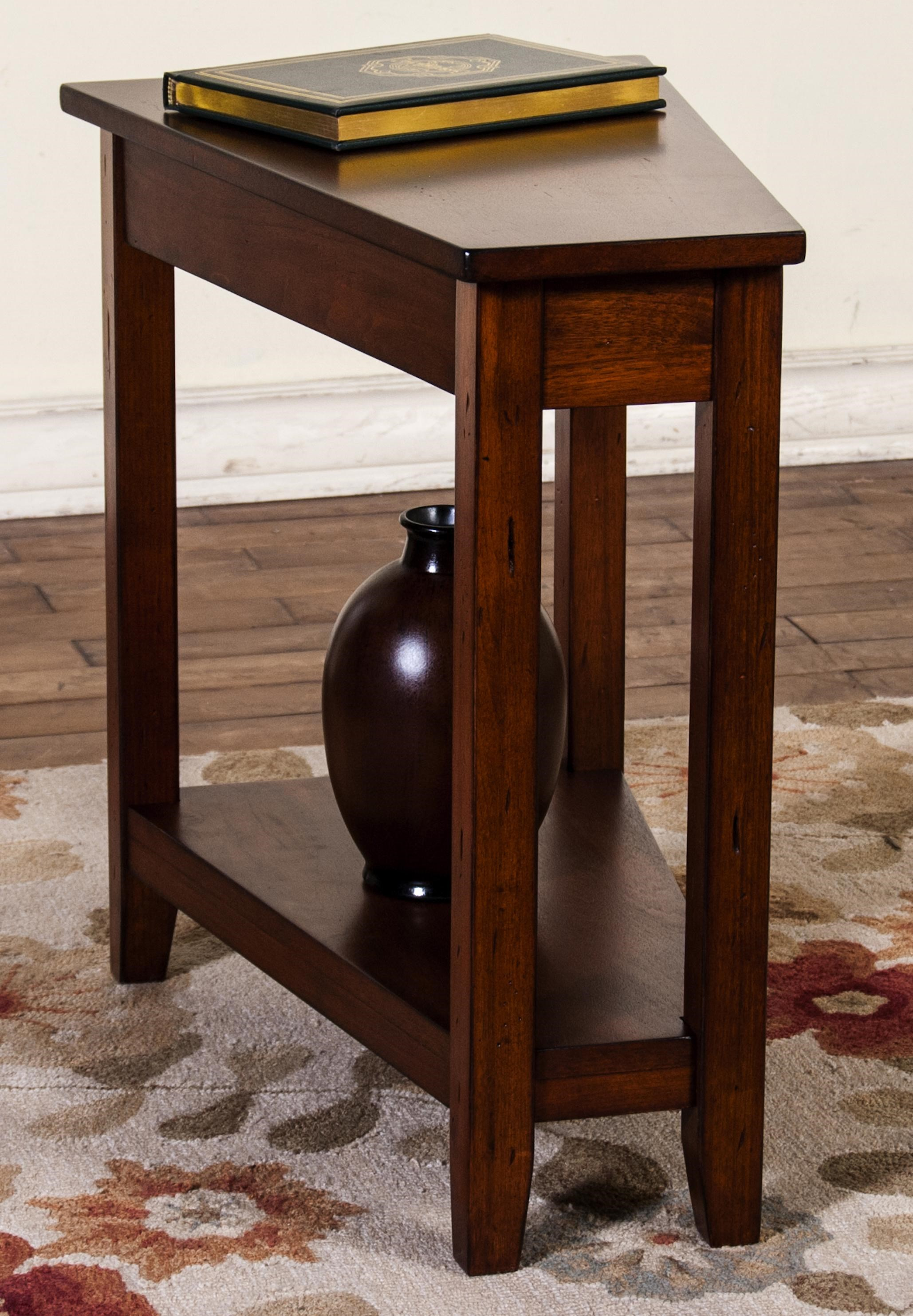 Market Square Roanoke Cherry Finish Wedge Chair Side Table   Morris Home   End  Tables