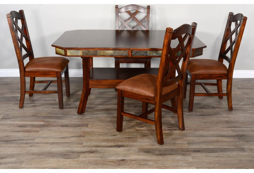 Sunny Designs Santa Fe 2 1151dc2 4x1415 Rustic Dining Table Set For 4 Home Furnishings Direct Dining 5 Piece Sets