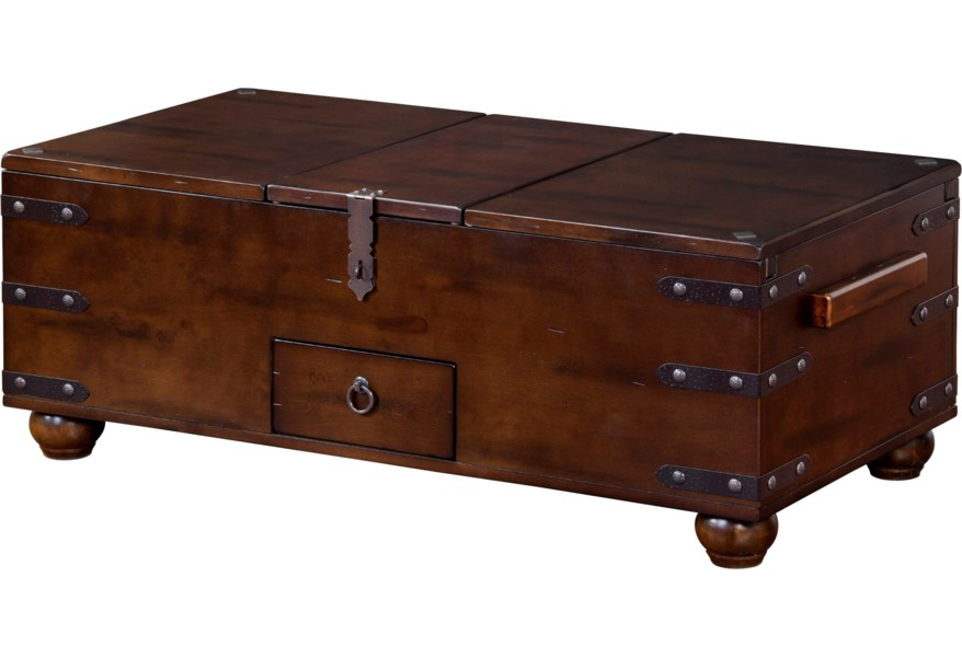Sunny Designs Santa Fe 2 Traditional Trunk Coffee Table With Storage Suburban Furniture Cocktail Coffee Tables
