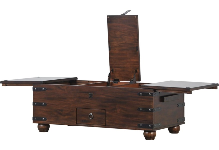 Traditional Trunk Coffee Table With Storage Sadler S Home Furnishings Cocktail Coffee Tables