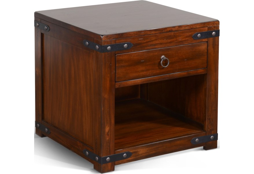12136 Rustic End Table With Drawer And Shelf Sadler S Home Furnishings End Tables