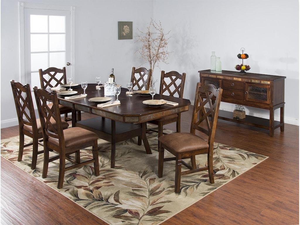 Sunny Designs Santa Fe7-Piece Adjustable Height Table Set