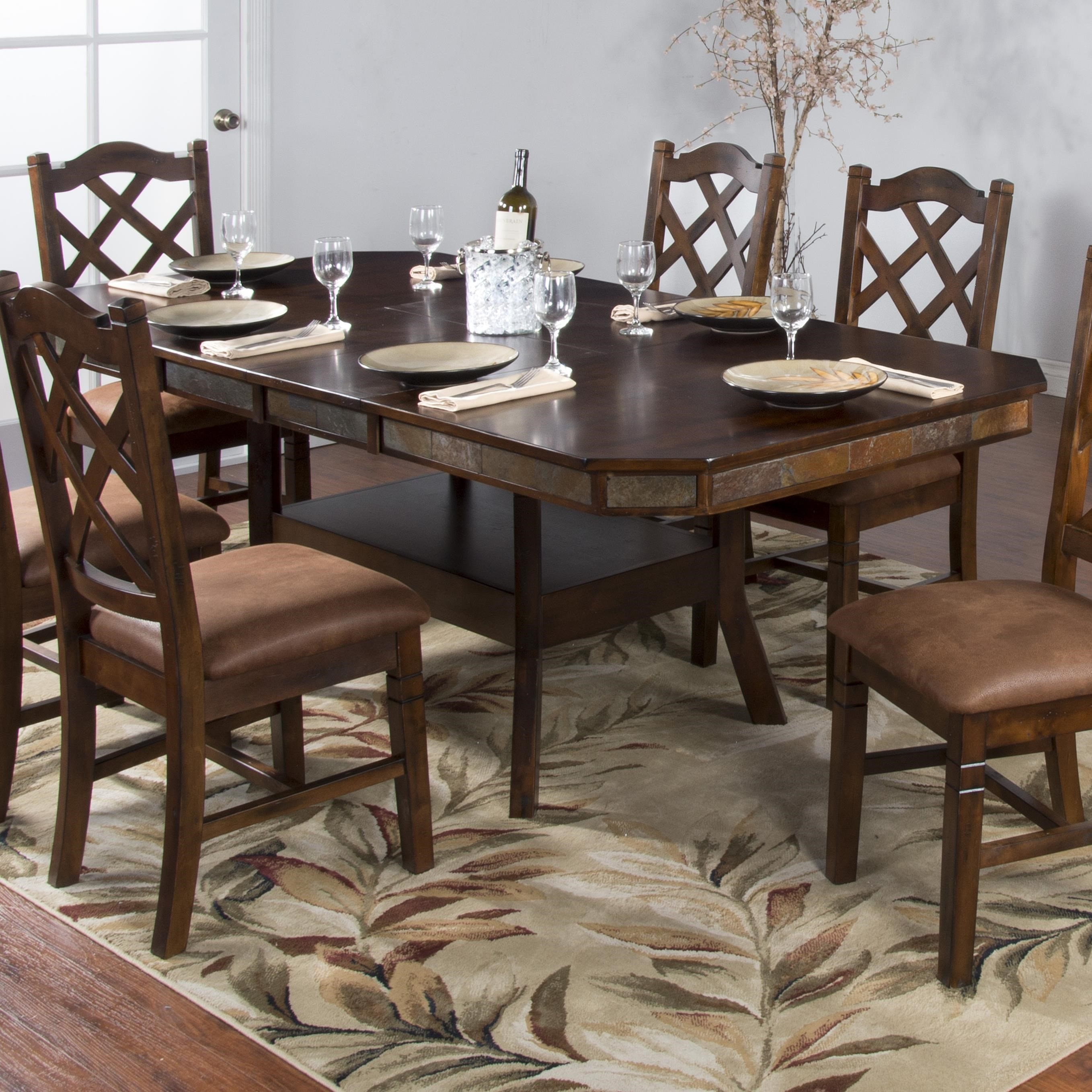 Amazing Sunny Designs Santa Fe Adjustable Height Dining Table W/ 2 Butterfly Leaves