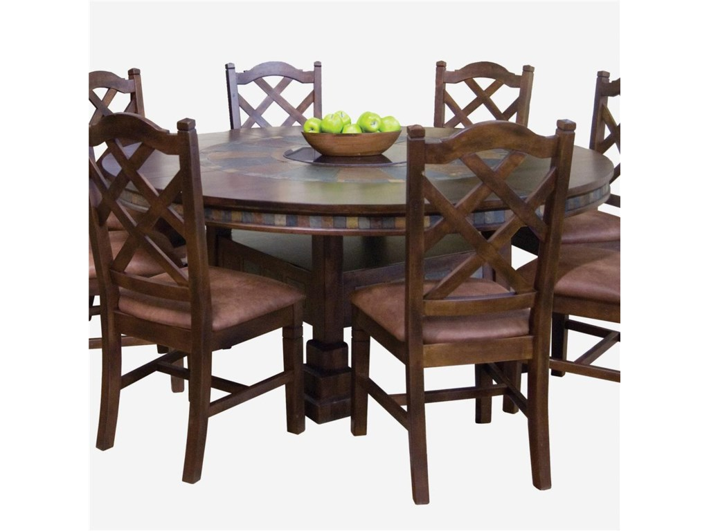 Santa Fe Traditional Round Dining Table With Slate Tile Inserts And Lazy Susan By Sunny Designs At Conlin S Furniture