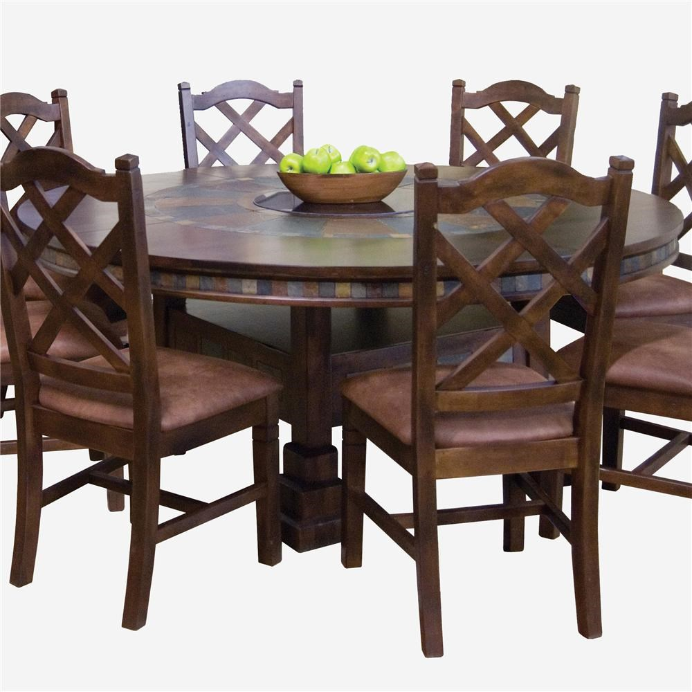 Sunny Designs Santa Fe Traditional Round Dining Table With Slate Tile  Inserts And Lazy Susan