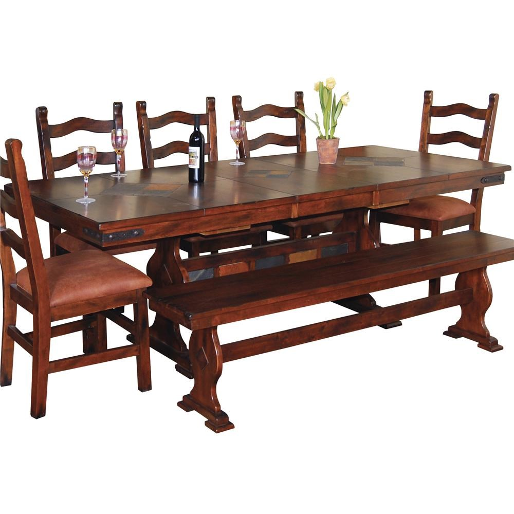 Traditional Wood Dining Tables sunny designs santa fe traditional slate top trestle dining table