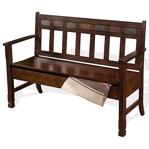 Sunny Designs Santa Fe Deacon's Bench w/ Storage & Slate Tiles