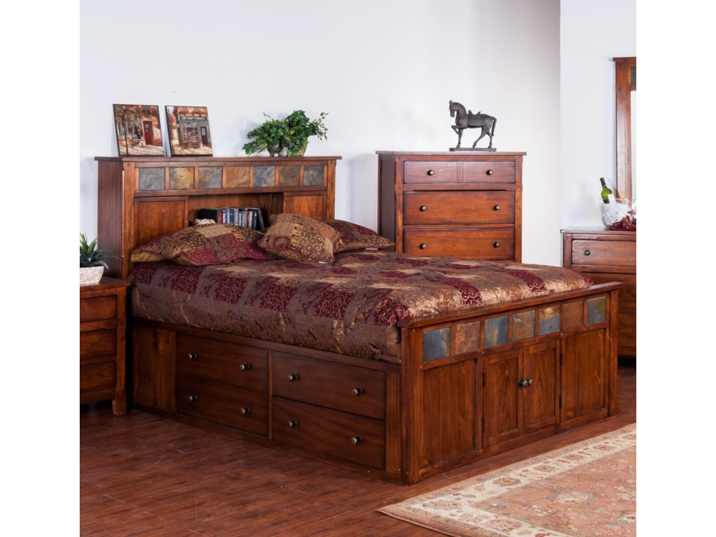 Santa Fe Queen Storage Bed w/ Slate by Sunny Designs at Fashion Furniture