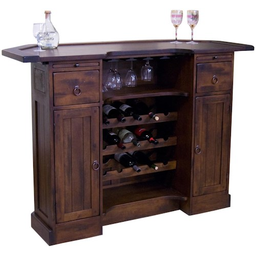 Sunny Designs Santa Fe Traditional 2 Drawer 2 Door Bar with Wine Bottle and Glass Display