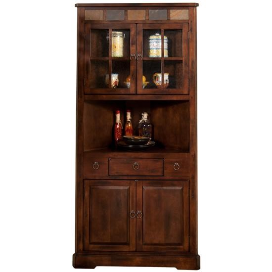 Santa Fe 2451DC Corner China Cabinet With Slate By Sunny Designs