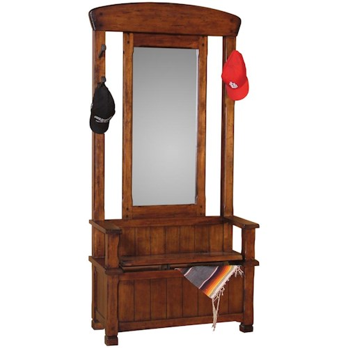 Sunny Designs Santa Fe Traditional Hall Tree with Mirror and Storage Chest