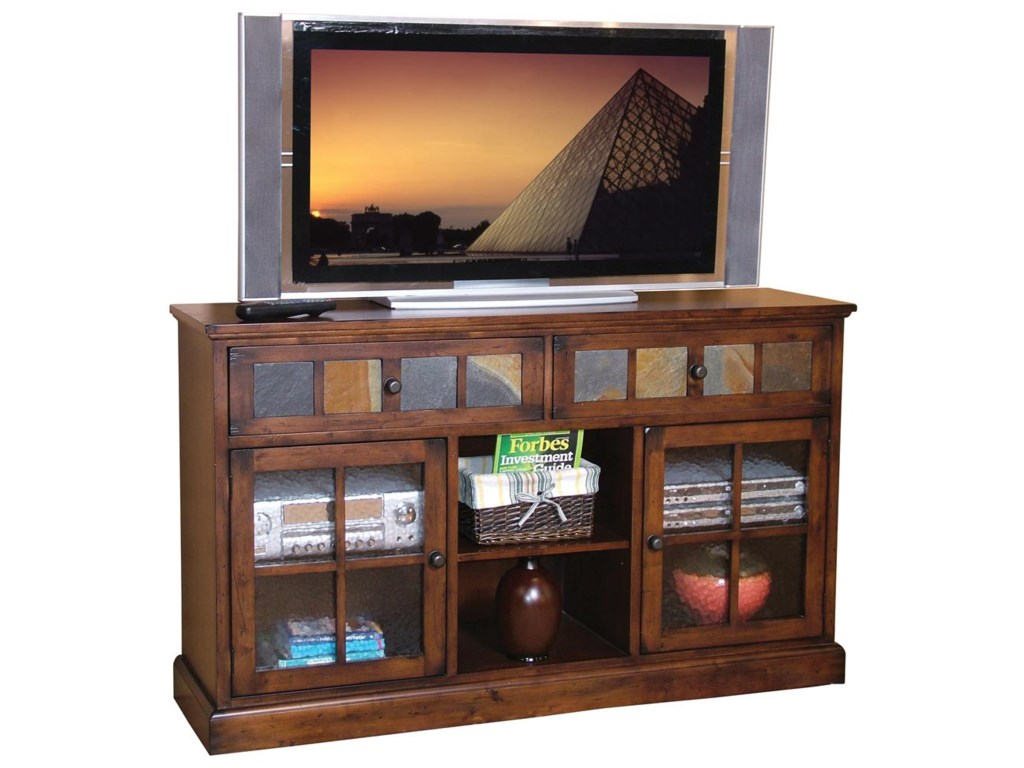 Market Square Morris Home Furnishings Traditional 2 Drawer Door TV Console