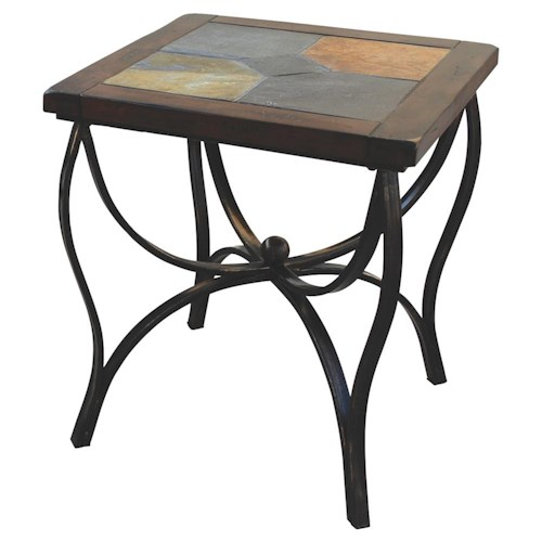 Sunny Designs Santa Fe Traditional Natural Slate Top End Table