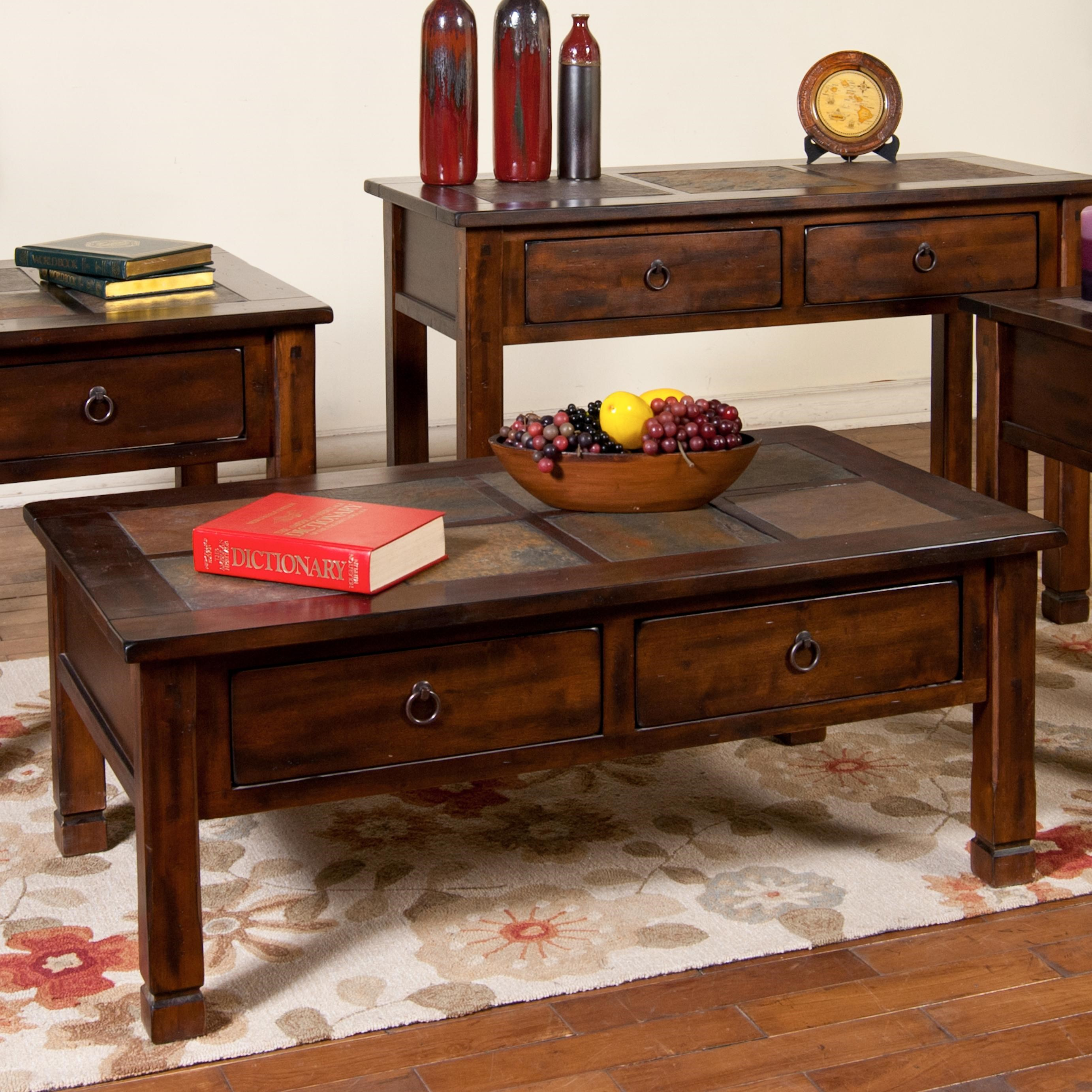 Sunny Designs Santa Fe Coffee Table With Slate Tiles And 2 Drawers