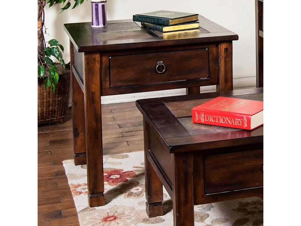 Sunny Designs Santa FeEnd Table w/ Slate Top