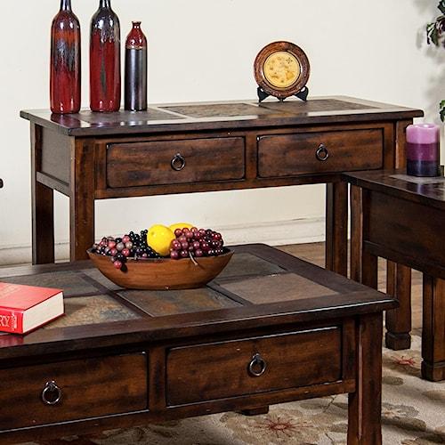 Sunny Designs Santa Fe Sofa Console Table W Slate Top