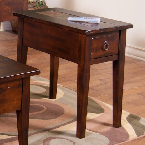 Sunny Designs Santa Fe Chair Side Table With Slate Tiles And Utility Drawer
