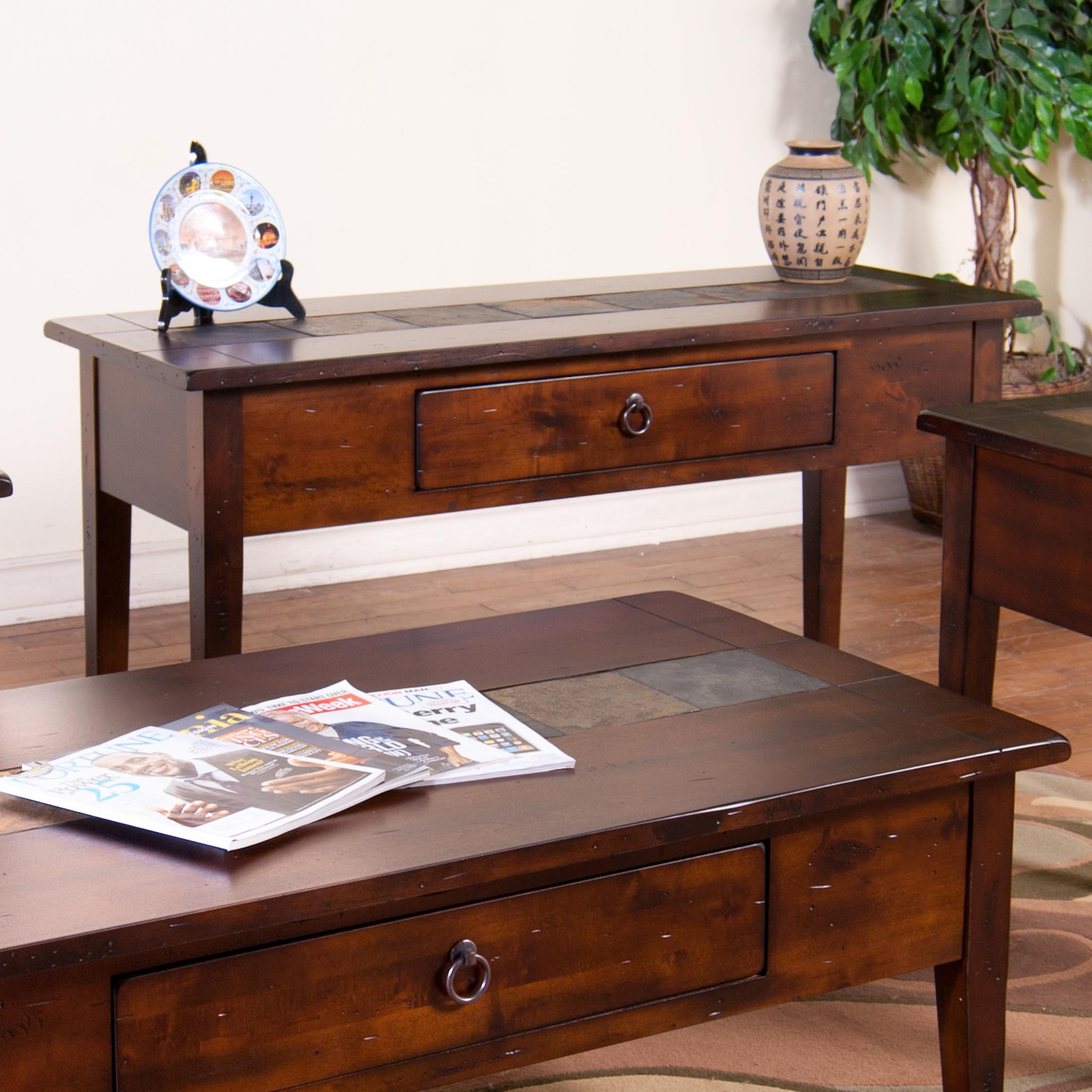 Sunny Designs Santa Fe Sofa/Console Table With Slate Tiles And Utility  Drawer