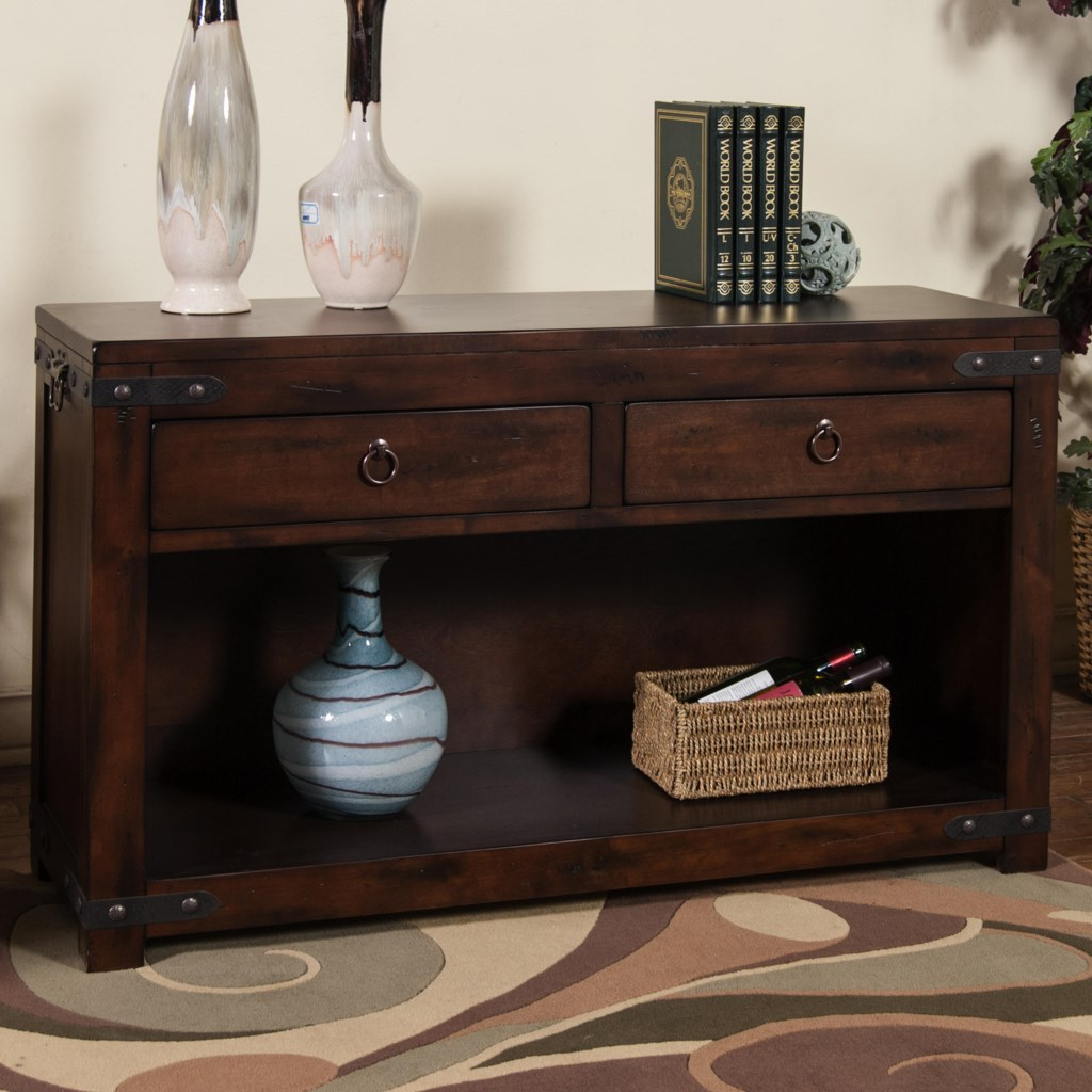 Sunny Designs Santa Fe Rustic Sofa Console Table W 2 Drawers