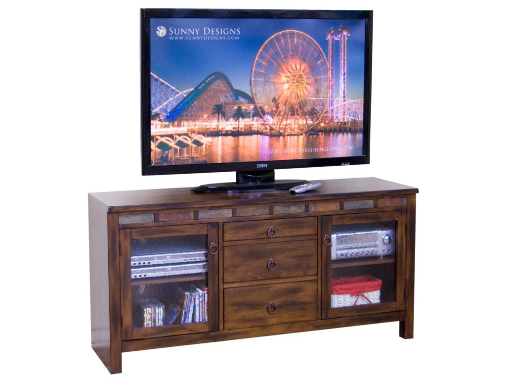 Sunny Designs Santa Fe60 Inch TV Console with Game Drawer