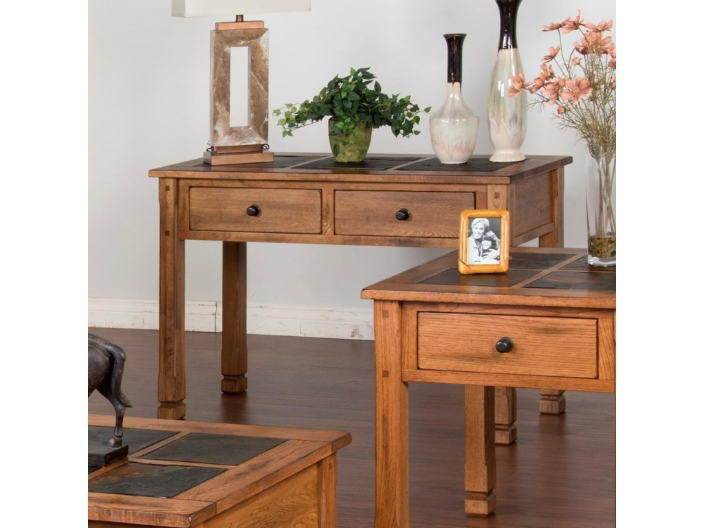 Sedona 2 Rustic Sofa Table With Slate Tiles By Sunny Designs At Conlin S Furniture