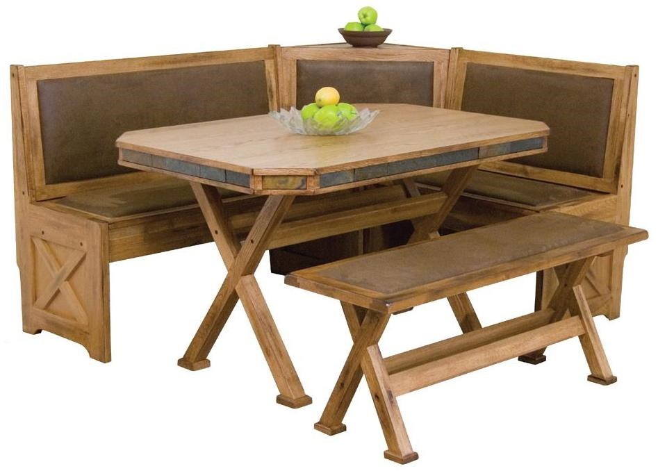 Sunny Designs Sedona Breakfast Nook Set With Upholstered Seats U0026 Slate Tile