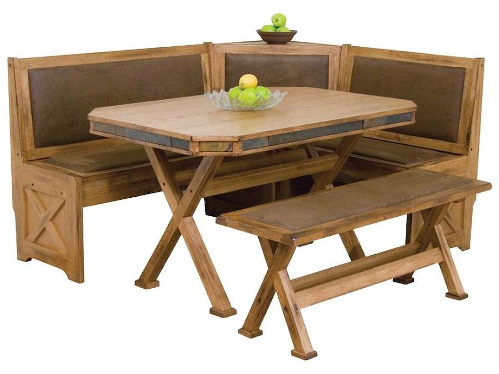 Sunny Designs Sedona Breakfast Nook Set With Upholstered Seats Slate Tile
