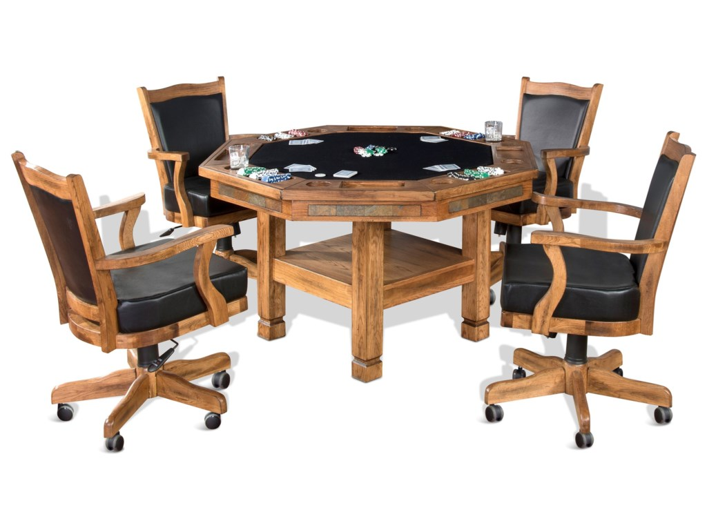 Sunny Designs Sedona 5 Piece Reversible Top Game Dining Table Set