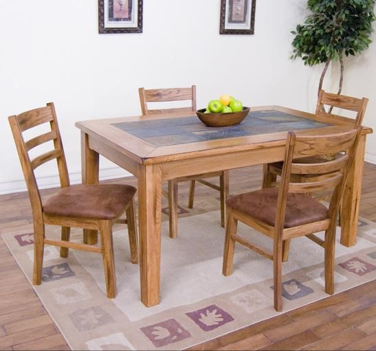 Sedona 5-Piece 36  x 60  Slate Top Rectangular Dining Table Set by Sunny Designs : slate top dining table set - pezcame.com