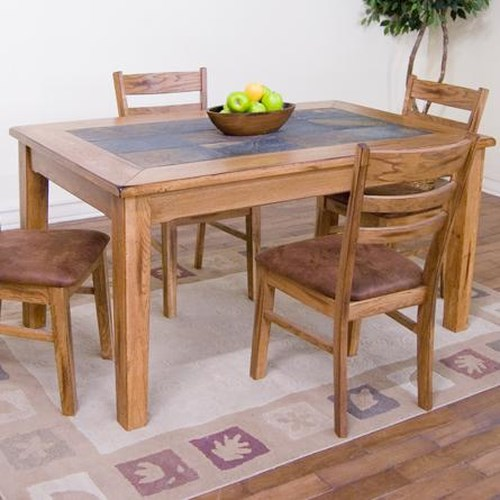 Sunny designs sedona 36 x 60 slate top rectangular table for Dining room table 60 x 36