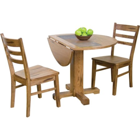 3-Piece Drop Leaf Table w/ Slate & Chair Set
