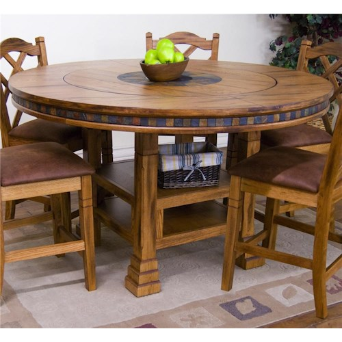 Sunny Designs Sedona Adjule Height Round Table W Lazy Susan