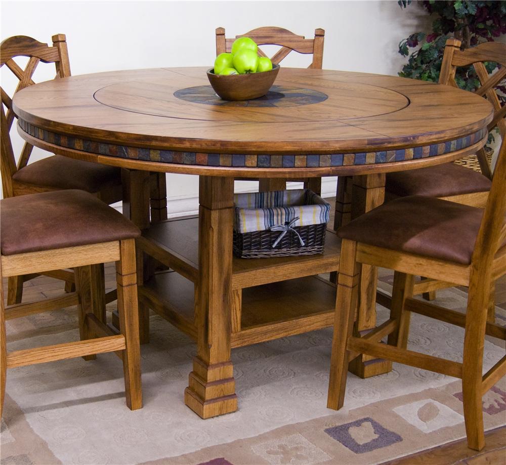 Sunny Designs Sedona Adjustable Height Round Table W/ Lazy Susan   Dunk U0026  Bright Furniture   Pub Tables