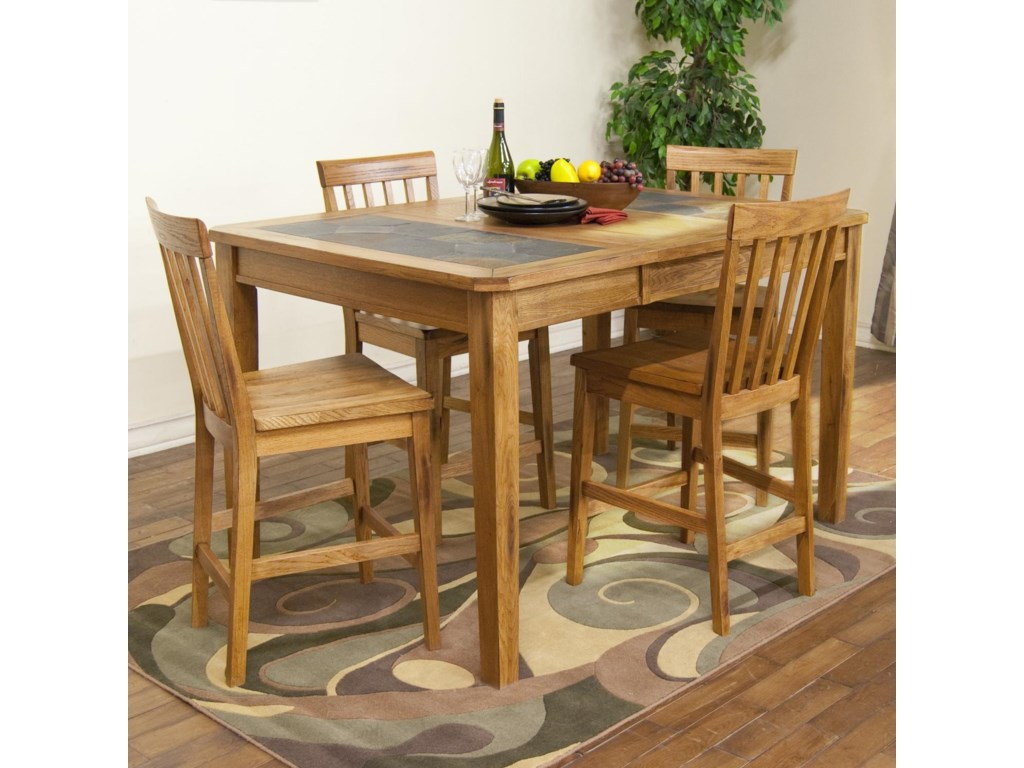 Sunny Designs Sedona Counter Height Extension Table W Slate Top Stool Set