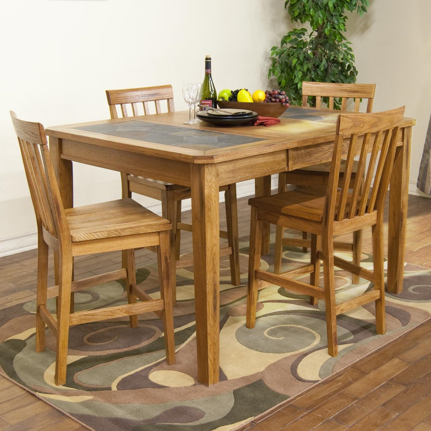 Sedona Counter Height Extension Table w/ Slate Top u0026 Stool Set by Sunny Designs  sc 1 st  John V Schultz Furniture : slate top dining table set - pezcame.com