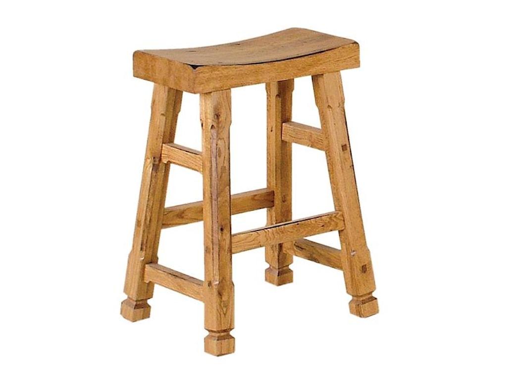 Sedona Rustic Oak Saddle Seat Barstool By Sunny Designs