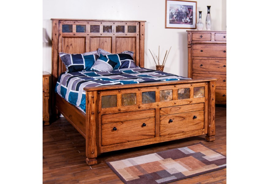 Sunny Designs Morris Home Queen Bed W Storage In Footboard Morris Home Platform Beds Low Profile Beds