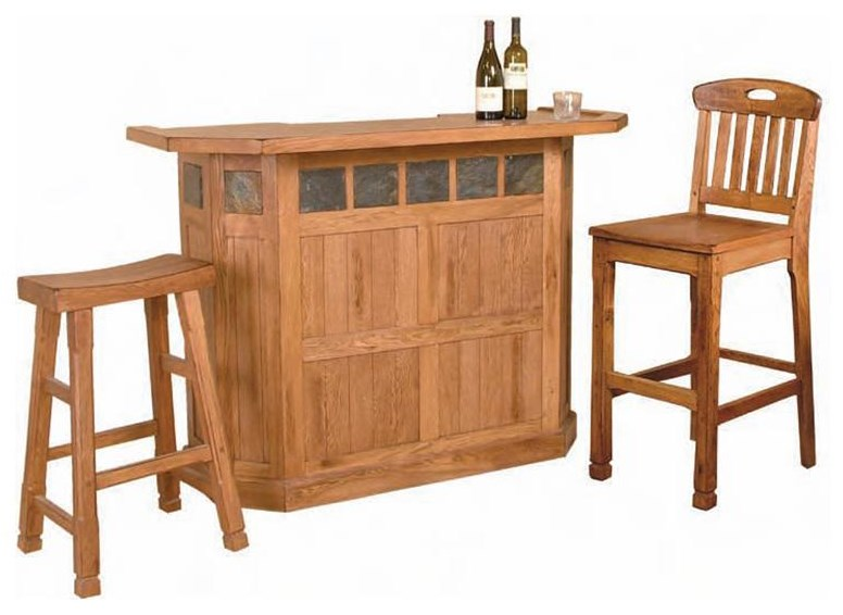 Front side. Shown with bar stools