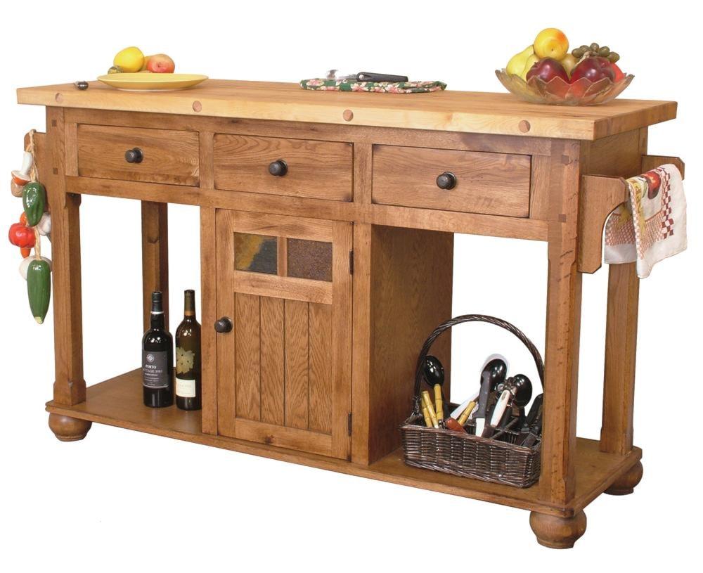 sunny designs sedona rustic oak kitchen island table - dunk