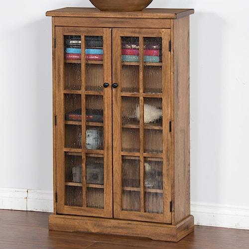 Sunny Designs Sedona Rustic Oak CD Cabinet with Rainfall Glass Doors