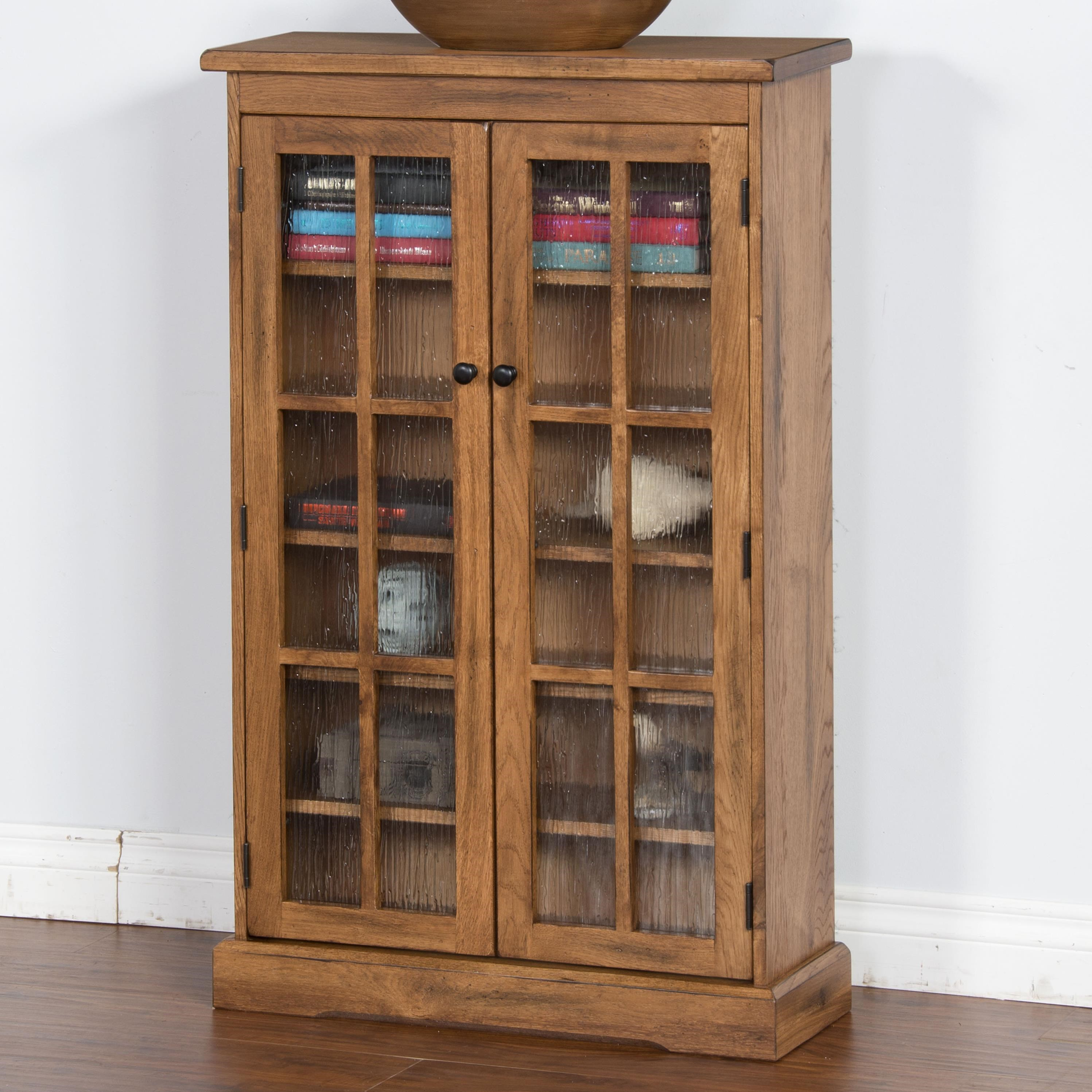 Sunny Designs Sedona Rustic Oak CD Cabinet With Rainfall Glass Doors
