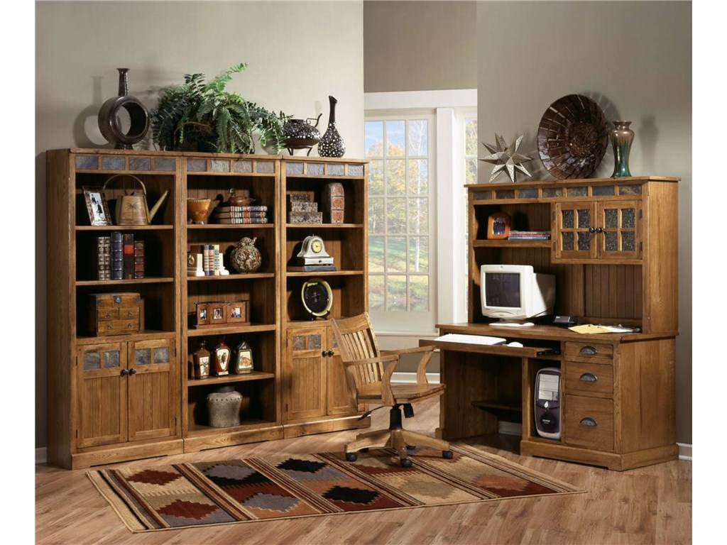 Shown with desk chair and bookcase wall unit