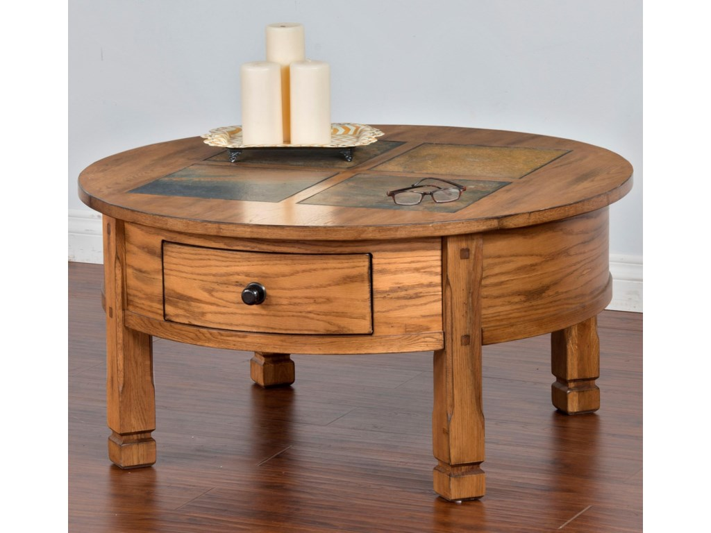 Sunny Designs Sedona Round Coffee Table With Slate Tiles 2 Drawers