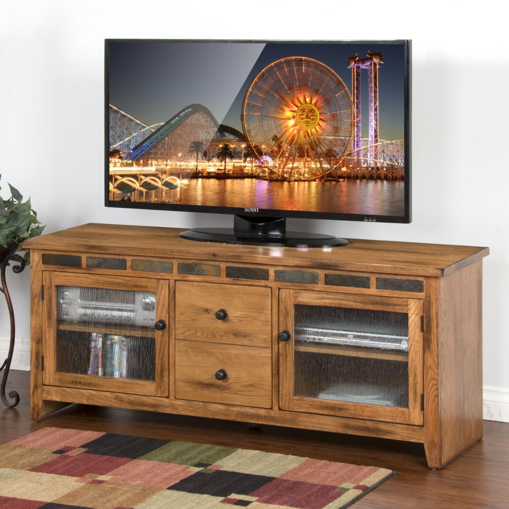 Sunny Designs Sedona 62 Tv Console With Rustic Oak And Slate