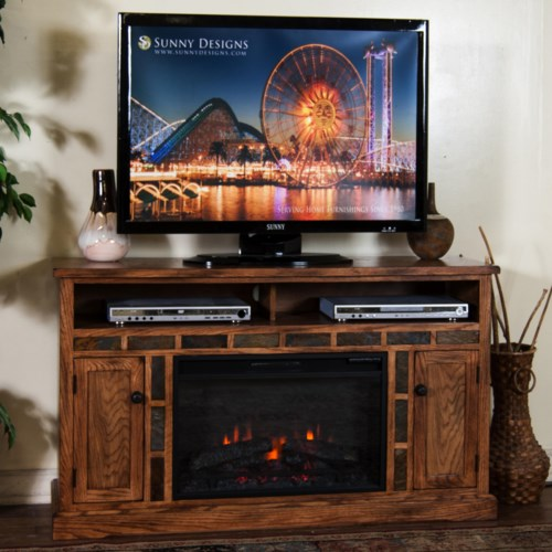 Sunny Designs Sedona Distressed Oak Fireplace Tv Console W 26