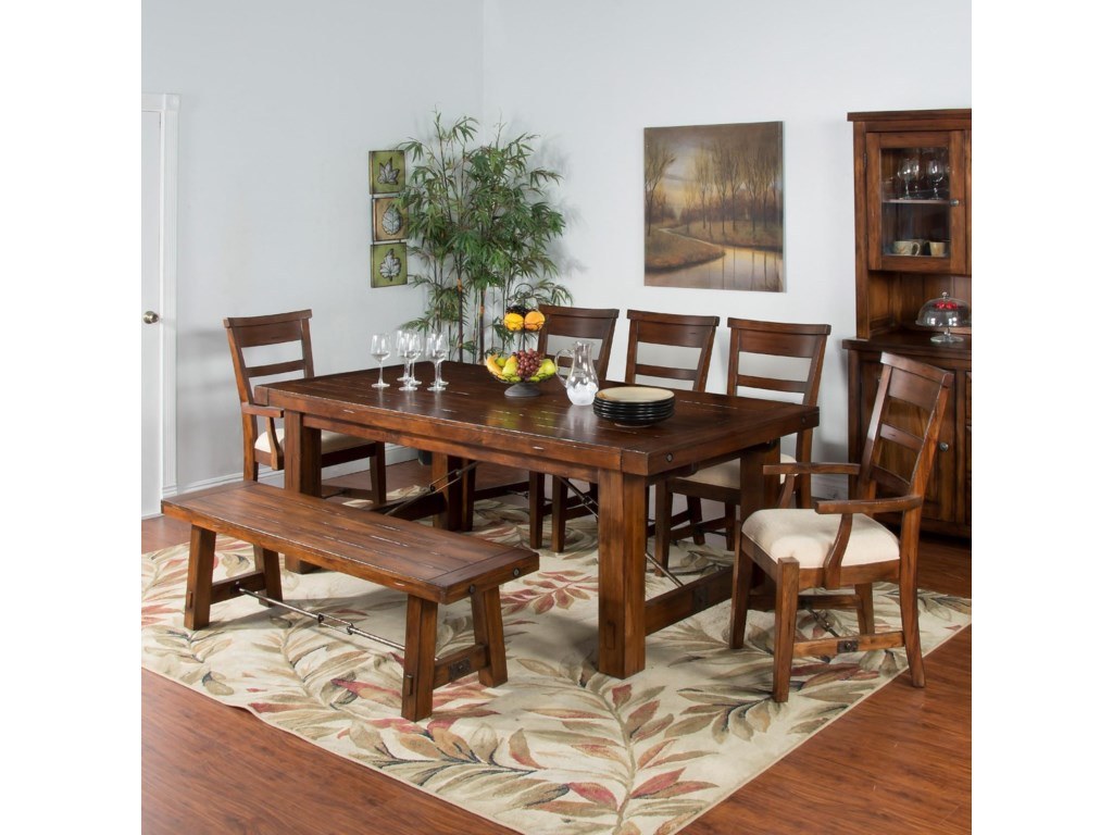 Sunny Designs Tuscany7-Piece Extension Table Set with Bench